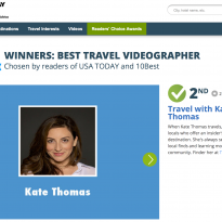 Kate wins 2nd Place in USA TODAY Contest for Best Travel Videographer Online!