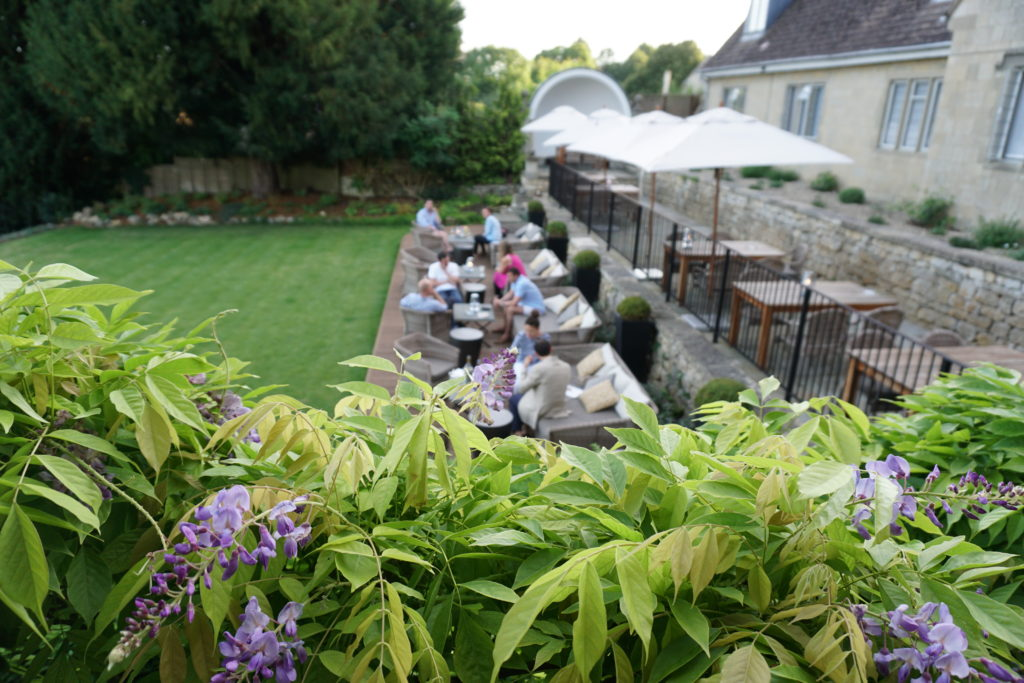 Wisteria and patio at the Painswick Hotel