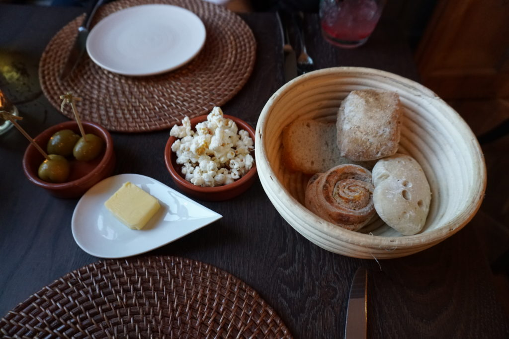 Painswick Hotel bread and popcorn